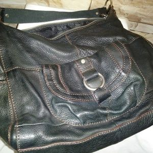 Dark supple pebble leather FOSSIL bag w/o key